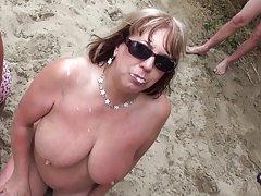 Beach laski na goło bukakke